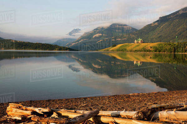 Canada, Alberta, Waterton Lakes National Park, Prince of Wales Hotel reflected in lake Royalty-free stock photo