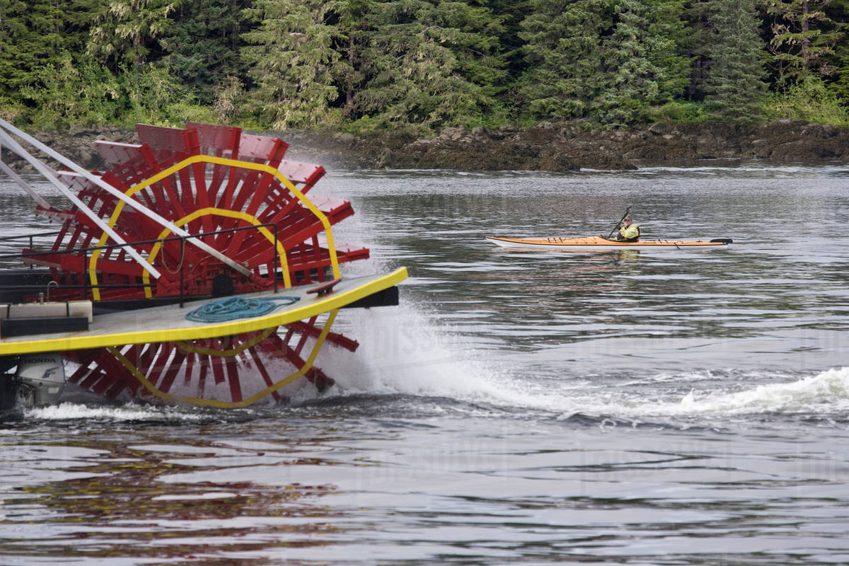 Usa Alaska Queen Paddle Wheeler Moving Next To Man In Kayak