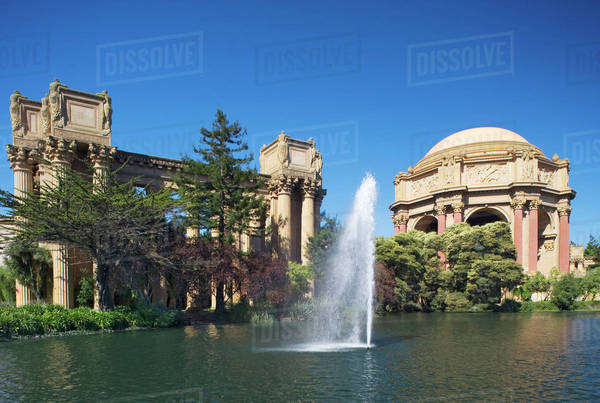 USA, California, San Francisco. View of the Palace of Fine Arts and pool. Royalty-free stock photo