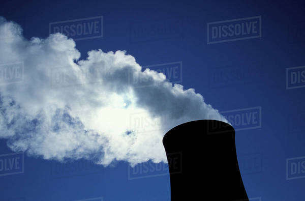 USA, Indiana, Michigan City, Steam billowing from stack Royalty-free stock photo