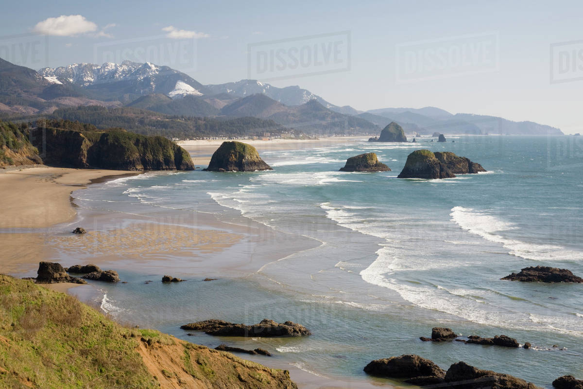 Oregon Coast Ecola State Park Crescent Beach Cannon And Haystack Rock In Background