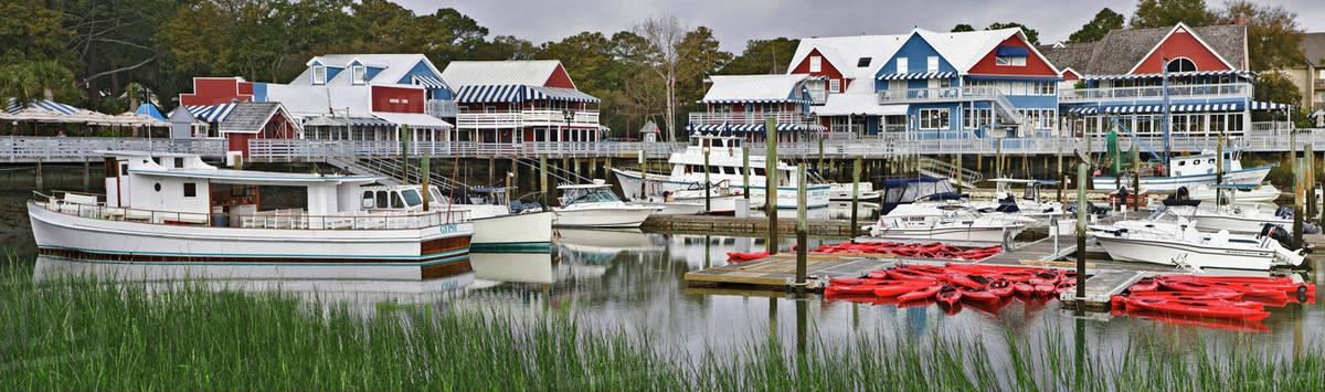 Usa South Carolina Beach Marina Village Boats In The Near Hilton Head Island