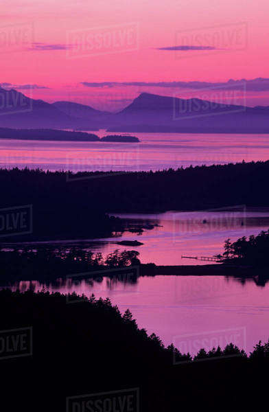 WA, San Juan Island, Westcott Bay and Haro Strait from Young Hill at sunset Royalty-free stock photo