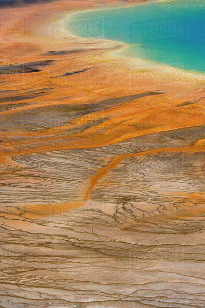 USA, Wyoming, Yellowstone National Park. Colors and patterns of the Grand Prismatic Spring. Royalty-free stock photo