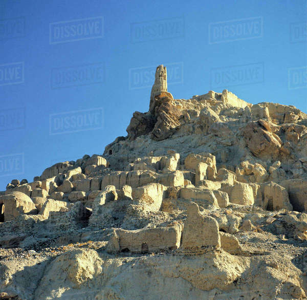 Afghanistan, Bamian Valley. Legend tells that Genghis Khan and his army killed every living thing in the Bamian Valley a World Heritage Site, as evidenced by the ruined City of Noise, in Afghanistan. Royalty-free stock photo