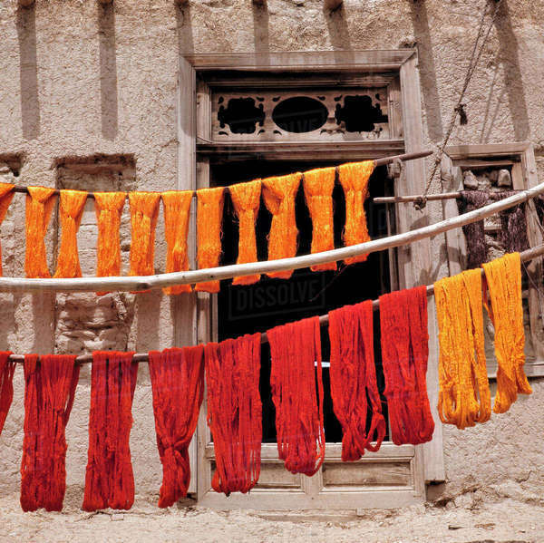 Afghanistan, Ghazni. Brightly-colored wool, recently dyed, is hung to dry in Ghazni, Afghanistan. Royalty-free stock photo
