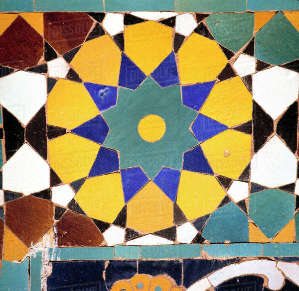 Afghanistan, Mazar-i-Sharif. A detail of a colorful mosaic tile at the Shrine to Hazrat Ali in Mazar-i-Sharif in Afghanistan. Royalty-free stock photo