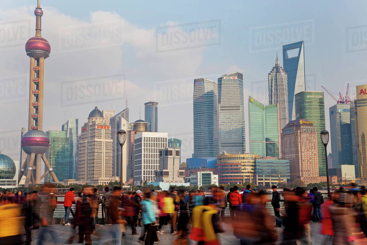 crowds on the bund shanghai china stock photo dissolve