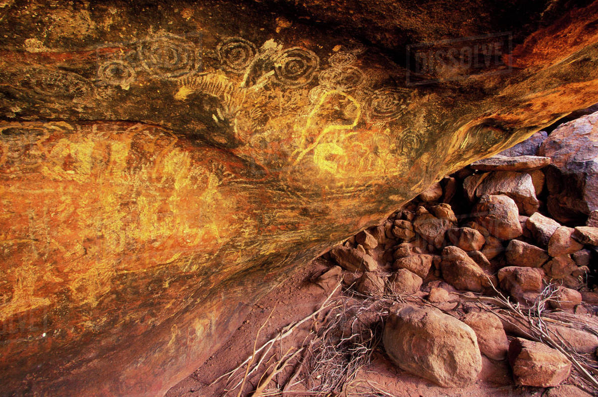 Australia Aboriginal Cave Rock Art Stock Photo Dissolve