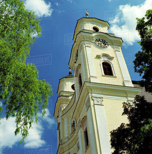 Europe, Austria, Traunkirchen. Traunkirchen Church is positioned at the south end of the Traunsee in the Salzkammergut, a World Heritage Site, in Austria. Royalty-free stock photo