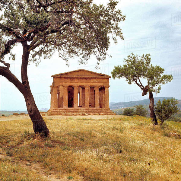 Italy, Sicily, Agrigento. The ruins of the Temple of Concord, at Agrigento, a World Heritage Site, Sicily, Italy, date from 440 BC. Royalty-free stock photo
