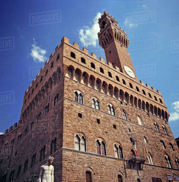 Europe, Italy, Florence. The medieval Plazzo Vecchio, or Old Palace, is on the Piazza della Signoria in Florence, a World Heritage Site, Italy. Royalty-free stock photo