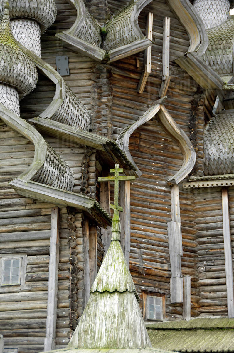Russia, Lake Onega, Kizhi Island. Historic 22-domed Transfiguration Church built in 1714 without a single nail. UNESCO site. Royalty-free stock photo