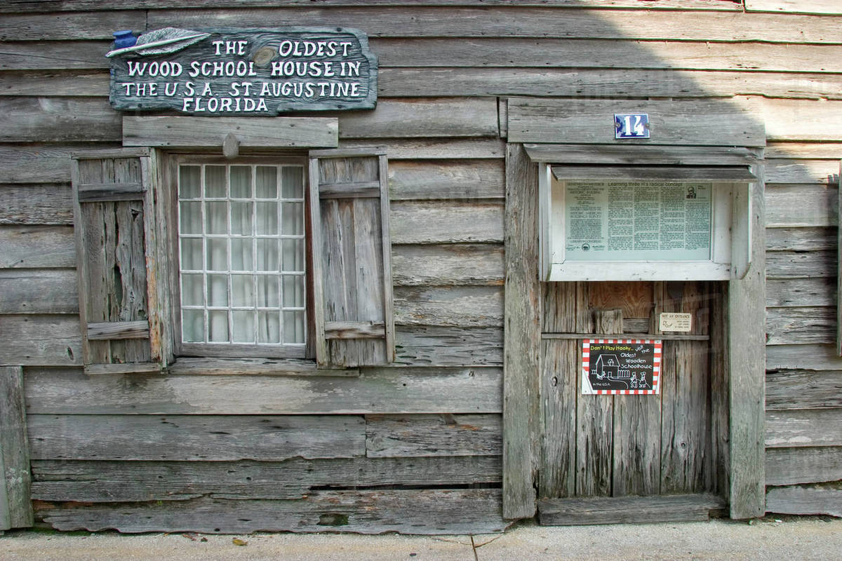 Oldest wooden school house in America  St  Augustine, FL stock photo