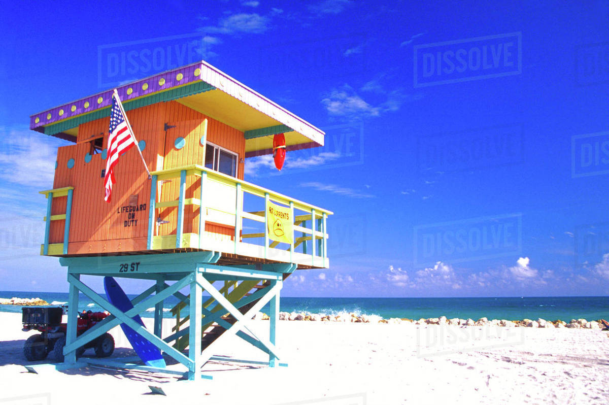 NA, USA, Dade County, Florida, Miami, Miami Beach, South Beach, Life Guard Station Royalty-free stock photo