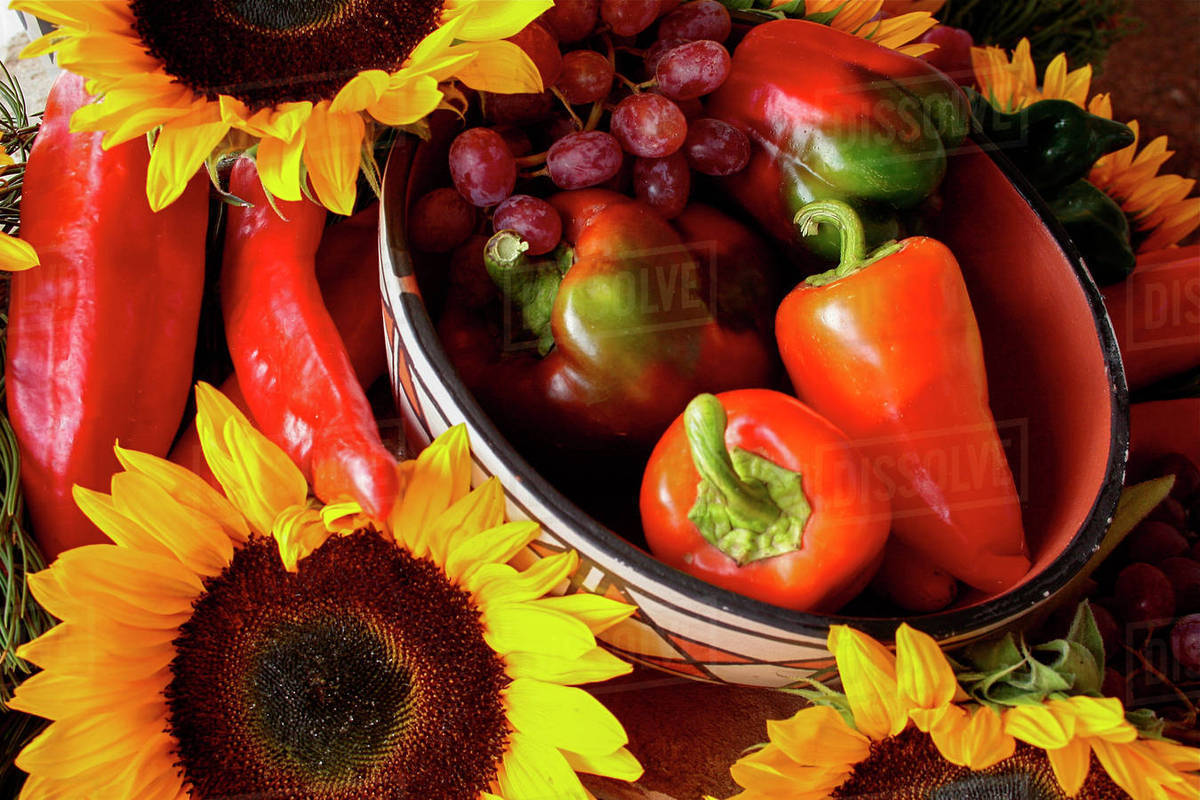 Santa Fe New Mexico United States Display Of Red Peppers And