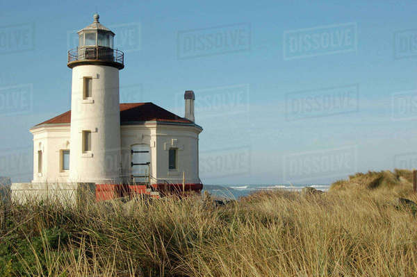 Oregon, Bandon. Coquille River lighthouse, Bullards Beach State Park Royalty-free stock photo