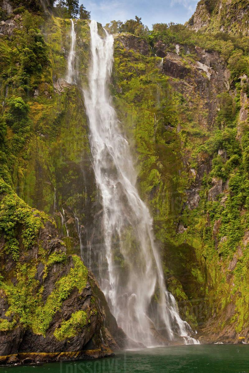 New Zealand South Island Fiordland National Park Waterfall Cascades Into D256 37 745