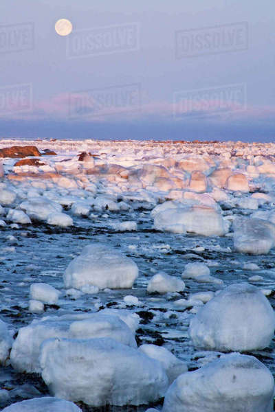 Canada, Hudson Bay. Sunset and full moon rising on ice-covered rocks. Rights-managed stock photo