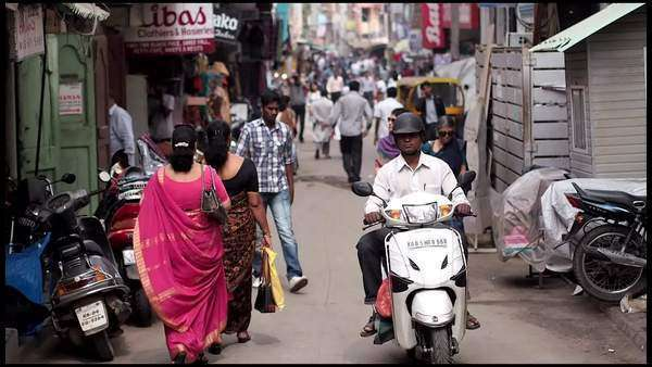 Shoppers in the Commercial Street shopping district of Bangalore, Karnataka, India Rights-managed stock video