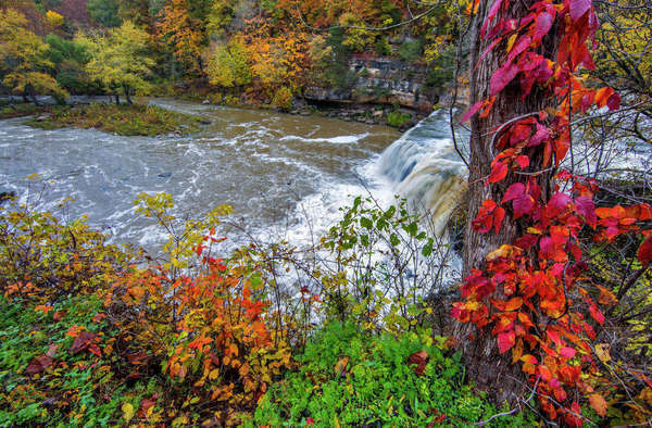 Upper Cataract Falls on Mill Creek in autumn at Lieber State Recreation Area near Cloverdale, Indiana, USA Rights-managed stock photo