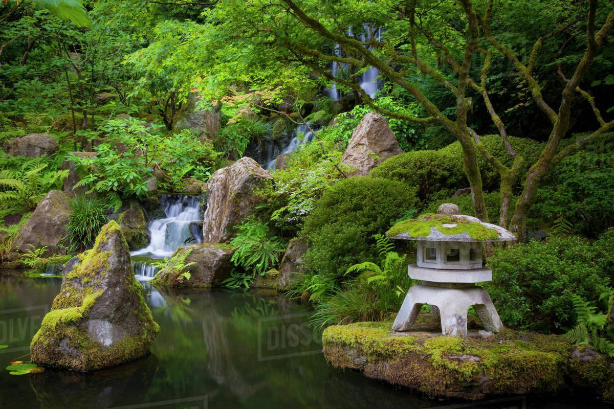 Pagoda And Pond In The Japanese Garden Portland Oregon Usa