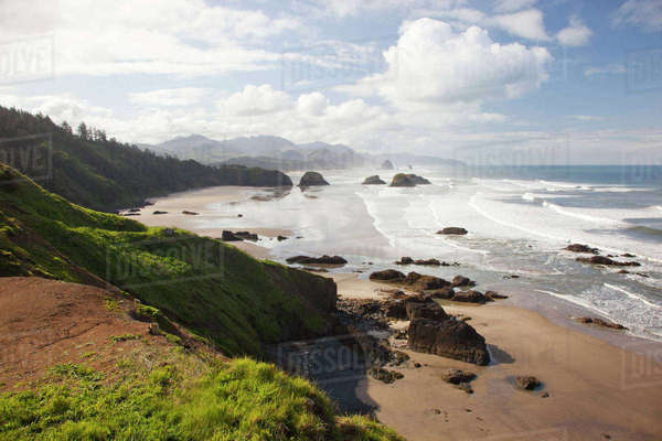 Oregon, Oregon Coast, Ecola State Park, Crescent Beach, Cannon Beach and Haystack Rock in background Rights-managed stock photo