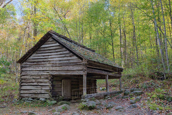 Tennessee, Great Smoky Mountains National Park, Roaring Fork Motor Nature Trail, Ephraim and Minerva Bales farm, Barn Rights-managed stock photo