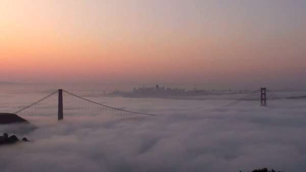 A timelapse of the Golden Gate Bridge at sunset as seen from the Marin Headlands Rights-managed stock video