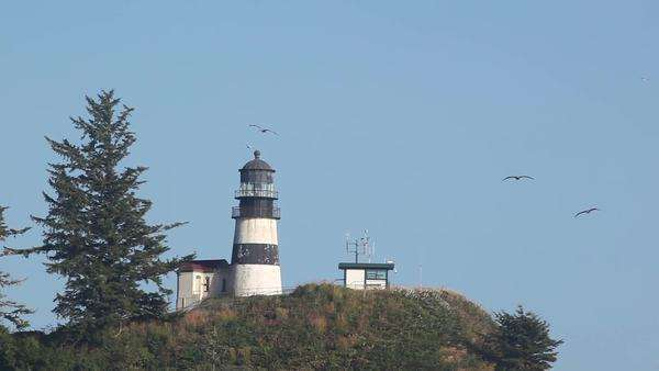 WA, Cape Disappointment State Park, Cape Disappointment lighthouse; built 1856 Rights-managed stock video