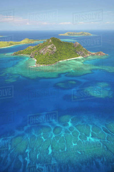 Monu Island, Mamanuca Islands, Fiji, South Pacific, aerial Rights-managed stock photo