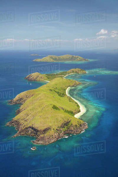 Yanuya Island, (and Tavua Island in background), Mamanuca Islands, Fiji, South Pacific, aerial Rights-managed stock photo