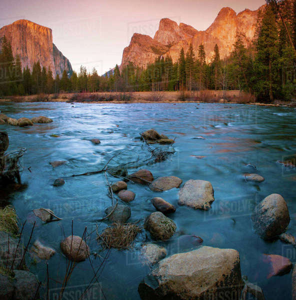 USA, California. Yosemite Valley view from the bank of Merced river. Rights-managed stock photo