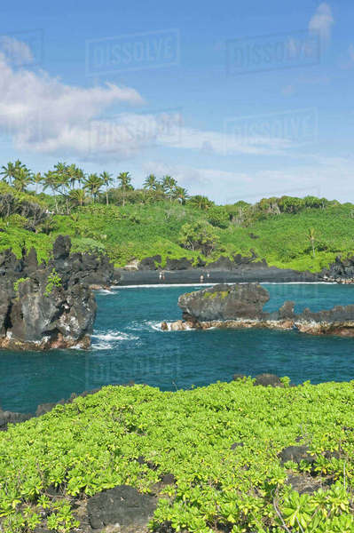 USA, HI, Maui, Hana, Waianapanapa SP, Black Sand Beach Rights-managed stock photo