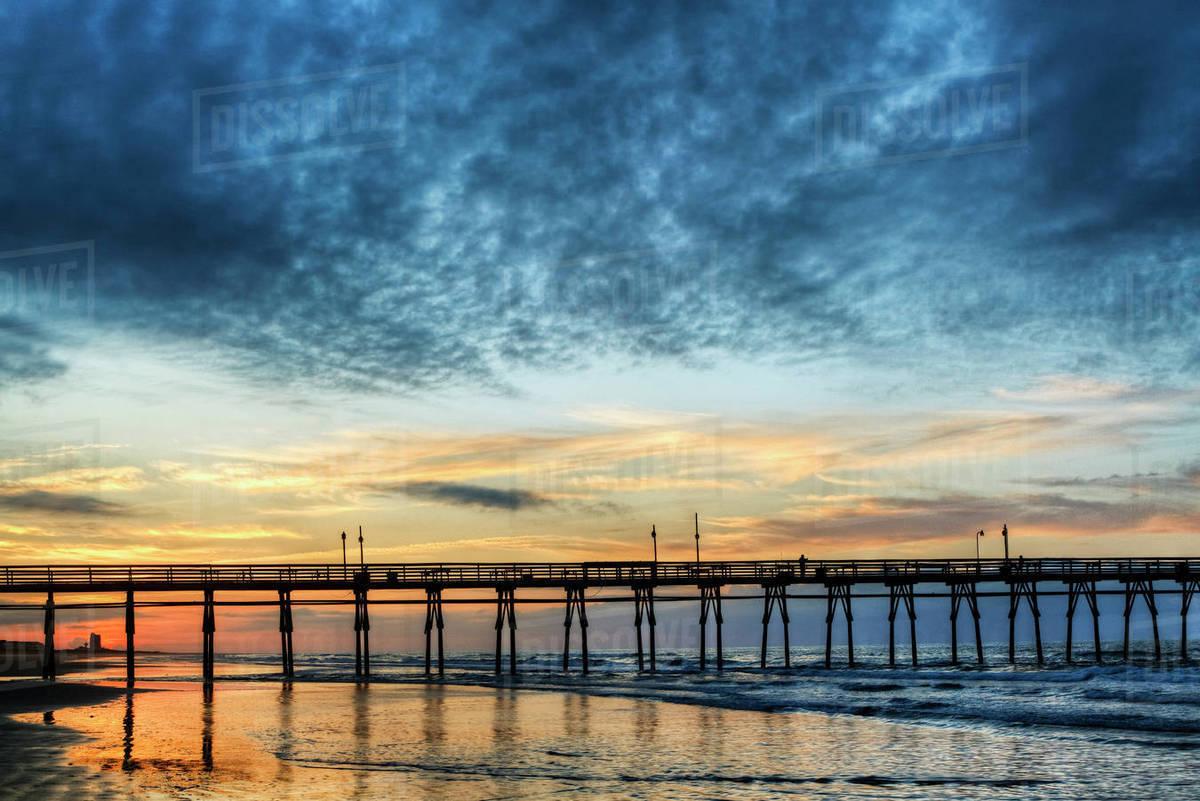 Usa North Carolina Sunset Beach Pier At Sunrise