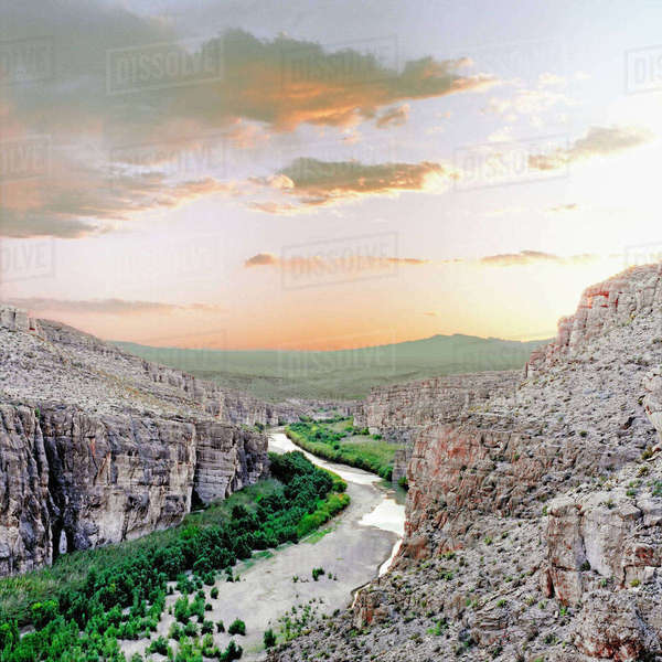 U.S.A., Texas, Big Bend National Park. Rio Grande river marking the border between Mexico and the United States, near The Village in Big Bend National Park. Rights-managed stock photo