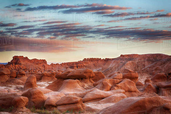 USA, Utah, Goblin Valley State Park. Gnome and goblin formations made of Entrada Sandstone. Rights-managed stock photo