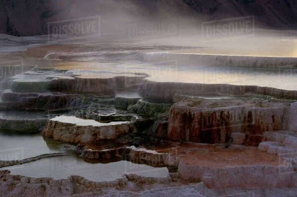 Sunrise, Mammoth Hot Springs, Yellowstone National Park,Wyoming Rights-managed stock photo