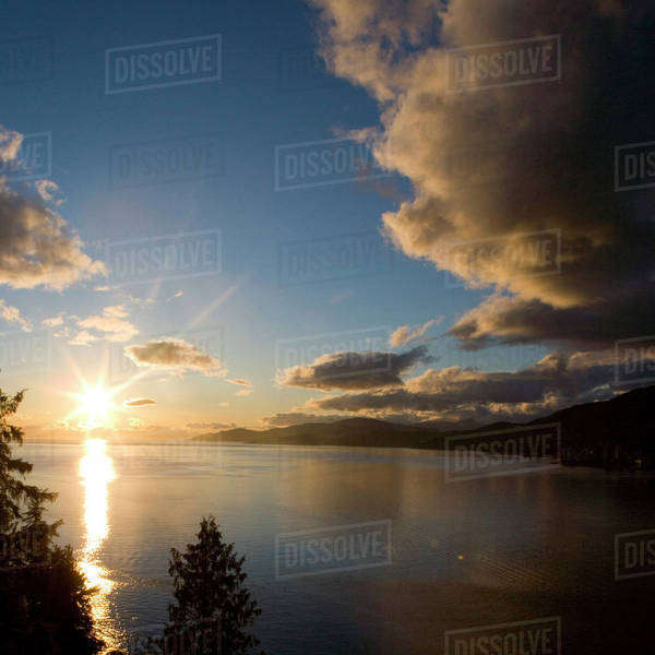 NA, Canada, BC, Vancouver, Sunset over Burrard Inlet and English Bay, from Stanley Park Royalty-free stock photo