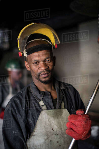 Portrait of metalworker in foundry Royalty-free stock photo