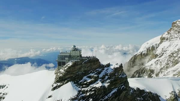 Sphinx Observatory above Jungfraujoch in Swiss Alps Royalty-free stock video