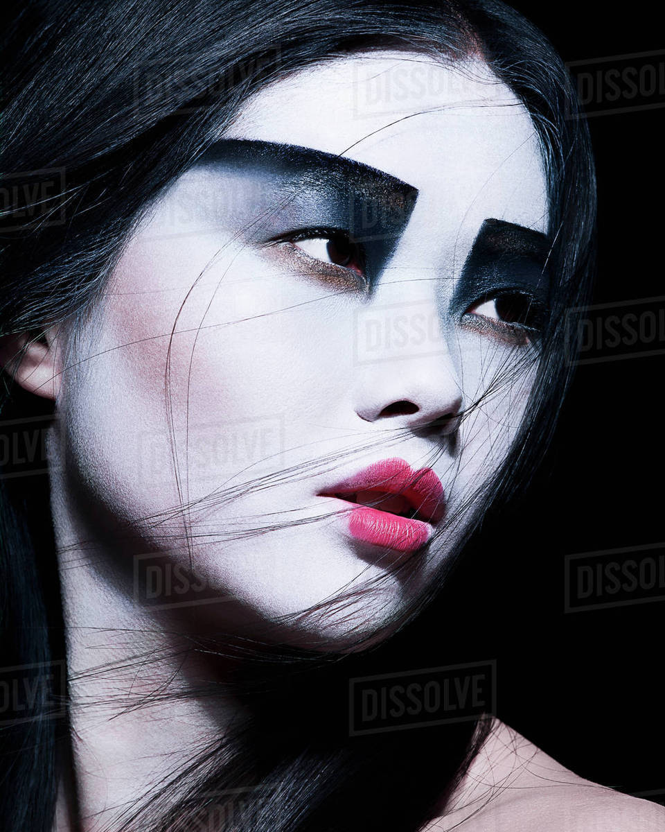 Young Woman With Dramatic Makeup Black Eyeshadow Stock Photo