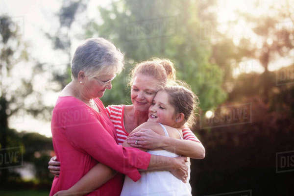 Portrait of three generation family, hugging Royalty-free stock photo