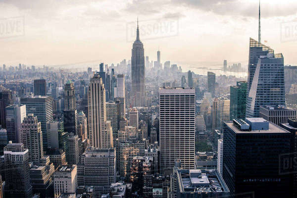 Elevated cityscape view with skyscrapers and the Empire State Building, New York City, USA Royalty-free stock photo