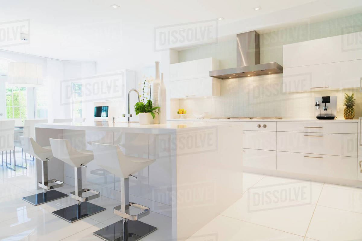 Modern Kitchen With White Italian Lacquered Kitchen Island And