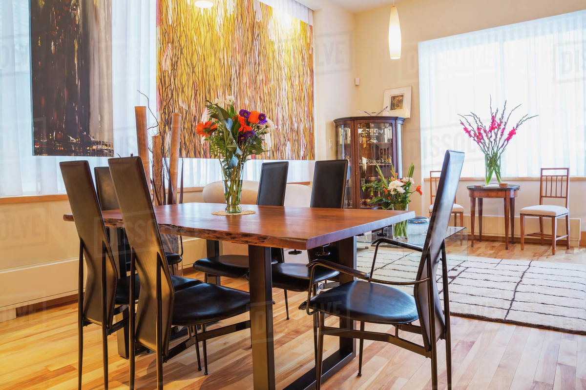 Rosewood Table With Black Leather High Back Chairs In Living D25 171 259