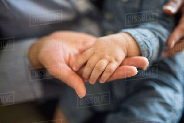 Baby's hand on adult's hand Royalty-free stock photo
