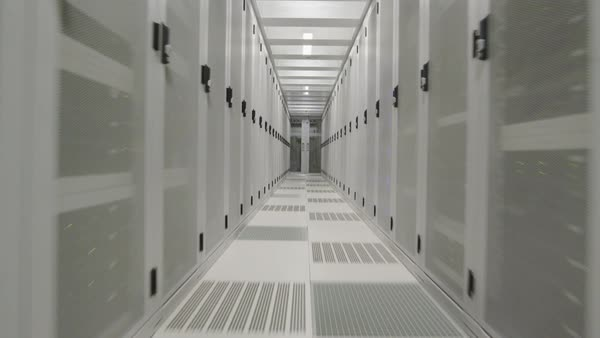 WS POV Aisle in data center / Amsterdam, North Holland, Netherlands Royalty-free stock video