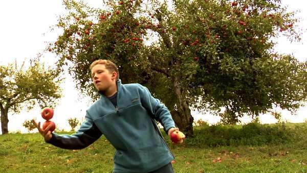 Boy juggling with apples Royalty-free stock video