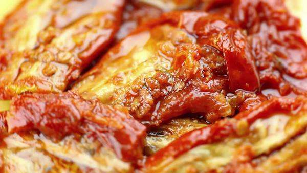 Dried tomatoes in oil Royalty-free stock video